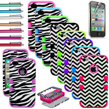 Hybrid Chevron & Zebra Rubber Rugged Combo Matte Case Hard Cover for iPhone 4 4S