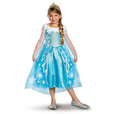 Disney Frozen Movie Queen Elsa Child Deluxe Princess Costume with Tiara NEW
