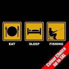 Eat Sleep FISHING Fisherman Angling Funny Gift Club T-Shirt 16 Colours - to 5XL
