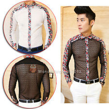 Punk Men's Sexy See Through Lace Flower Pattern Long Sleeve Casual Dress Shirts