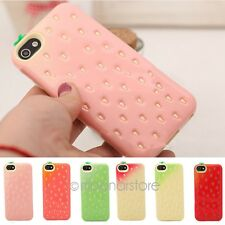Cute Strawberry Design TPU Soft Phone Back Case Cover Skin For iPhone 4 4S 5 5S