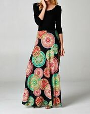 NEW LONG SLEEVE MAXI DRESS 'ALICIA' BLACK & MULTI-COLOR GRAPHIC PRINT SCOOP NECK