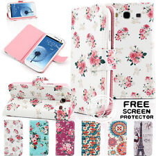 VINTAGE FLORAL WALLET CARD LEATHER STAND FLIP CASE COVER FOR SAMSUNG MODELS