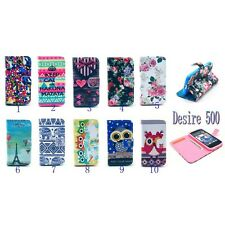 For HTC Desire 500 Elephant Calm Print Clip PU Leather Case Flip Stand Wallet