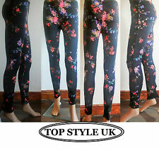 New Women Ladies Vintage Black Floral tropical print sexy skiny Leggings trouser