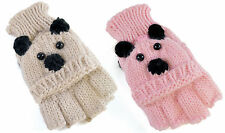 KIDS GIRLS KNITTED WINTER ANIMAL TEDDY BEAR DESIGN CAPPED GLOVES MITTENS 3-10YRS