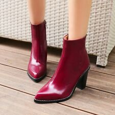 Womens Elegant Black/Wine Red Pointed Toe Side Zipper Block Heel Ankle Boots