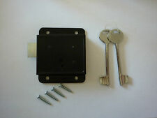 "Black Press Lock - Dead Lock 3"" 75mm 2 Keys and screws for Garden Sheds"