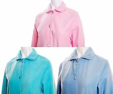 Women Fleece Sleep Bed Jacket Housecoat Blue Green Pink 10 12 14 16 18 20 22 24