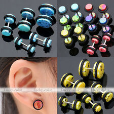 2x Spot Colorful Barbell Fake Cheater Illusion Ear Plugs Earring 18G Look 6G Hot