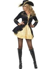 Womens Ladies Adult Sexy Pirate Swashbuckler Costume Black Gold Dress Jacket Hat