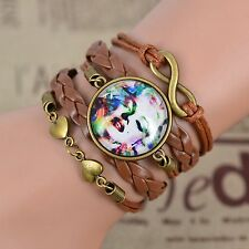 Hot Women Handmade Multi-layer Infinity  Glass Cabochon Leather Bracelet Bangle