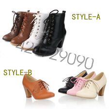 Womens Comfort Thick High Heels Classic Shoes Lace Up Ankle Boots AU ALL Size