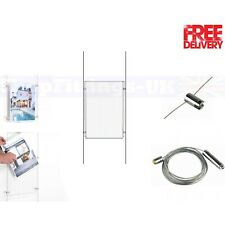 New A4 Wire Cable System Acrylic Poster Holder Shop Window Sign Display Stand