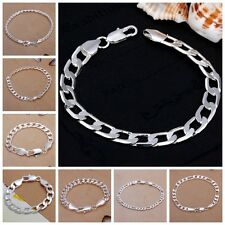 Women Men Curb Figaro Rope Snake Silver Chain Bracelets 25 Style 4mm to 12mm