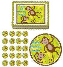 MONKEY AROUND Go Bananas Edible Birthday Party Cake Topper Cupcake Decoration