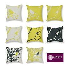 "Euphoria Cushion Covers Pillows Shell Yellow Black Shadow Bird Tree 18"" X 18"""