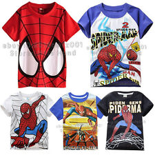 Spider Man Kids Boys Girls Summer Superhero T-shirts Tee Tops Clothes Age 1-10
