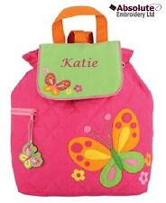Stephen Joseph Pink Butterfly Quilted Backpack Rucksack Bag can be personalised