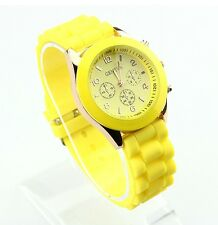 NEW Unisex Geneva Silicone Jelly Gel Quartz Analog Sports Wrist Watch yellow AB