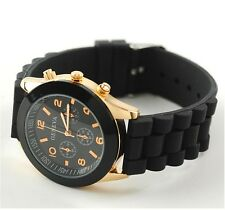 NEW Unisex Geneva Silicone Jelly Gel Quartz Analog Sports Wrist Watch black AB