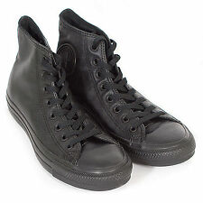 Converse Unisex All Star Hi Leather Lace-Up Trainer Monochrome Black 135251C