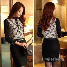 Elegant Ladies Vintage Long Sleeve Button Floral Lace Chiffon Tops Blouse Black