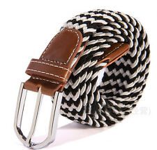 Stretch Braided Elastic Cotton Leather Men's Golf Casual Belt