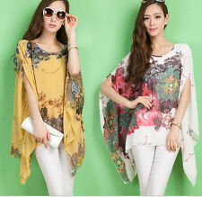 Women's Floral Print Over sized Batwing Sleeves Chiffon T shirt Top Blouse Plus