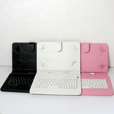 "Keyboard PU Leather Folio Case Cover Stand Micro USB for 8"" 9"" Tablet PC Phone"