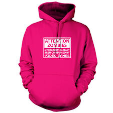 Attention Zombies Video Games - Unisex Hoodie / Hooded Top - Gaming - Zombie