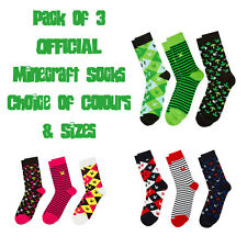 Minecraft OFFICIAL Socks Pack of 3 Choice of Colours Childrens Womens Mens Sizes