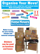 5 Packs of Moving Home Removal Box & Furniture Labels - Colour Coded Stickers