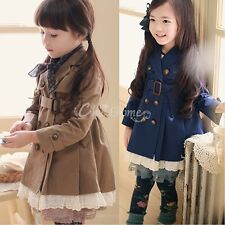 Girls Kids Double Breasted Wind Jacket Trench Coat Parka Fall Winter Clothes 2-7