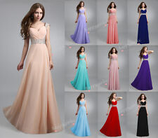 STOCK New Long Chiffon Evening Formal Party Ball Gown Prom Bridesmaid Dress6 -16