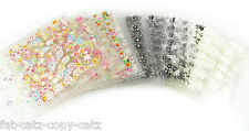 5 or 10 PACKS 3D BODY or NAIL ART TIPS STICKERS FALSE NAIL DESIGN MANICURE GEMS