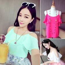 Women Korean Sexy Off Shoulder Solid Color Casul Shopping T-Shirt Tops Blouse