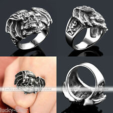 Mens 316L Stainless Steel Punk Bat Wing Skull Vampire Finger Ring Gothic Retro