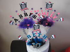 MONSTER HIGH CAKE TOPPER WITH NAME AGE SKULLS AND STARS PICK YOUR OWN COLOURS