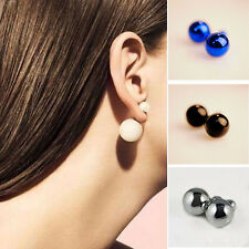 Celebrity Runway Man Made Double Pearl Beads Plug Earrings Ear Studs Pin