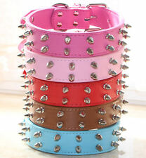 Medium Large Breed Leather 2 Rows Spiked Studded Pet Dog Collar Pitbull Terrier