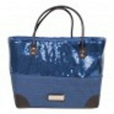 Pia Rossini Black Silver Blue Paper Straw Sequin Large Beach Holiday Bag