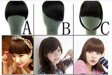 New Fashion Girls Clip on Front Neat Bang Fringe Hair Extensions AB