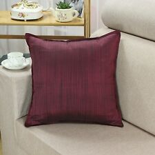 """Cushion Covers Pillows Shell Yarn Dyed Stripes Burgundy Teal Olive 18"""" X 18"""""""