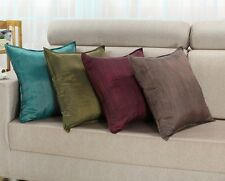 "Cushion Covers Pillows Shell Yarn Dyed Stripes Burgundy Teal Olive 18"" X 18"""