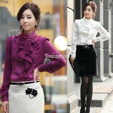 Long Sleeve OL Shirts Flouncing For Office Lady Women Tops T-Shirt Slim W3LE