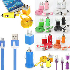 Home Wall +Car Charger +Micro USB Flat Noodle Data Sync Cable For Samsung HTC LG