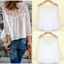 Ladies Women Blouse Casual White Lace Shirts Chiffon Blouses Tops Long Sleeve