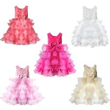 Girls Flower Big Bow Princess Pageant Wedding Bridesmaid Gown Party Prom Dress
