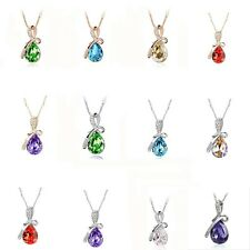 Graceful Water-drop Crystal Rhinestone  Silver/Gold Plated Pandent Necklace